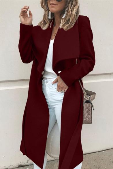 Elegant Women's Fold-Over Collar Long Sleeve Plain Longline Wool Trench Coat