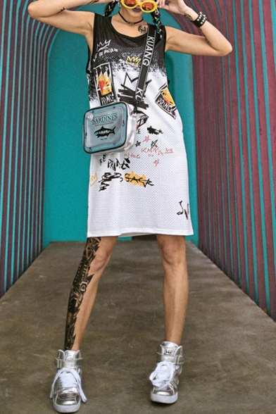 Fashion Street Style Round Neck Sleeveless Colorful Hip-Hop Graffiti Print Letter Loose Midi Shift Tank Dress