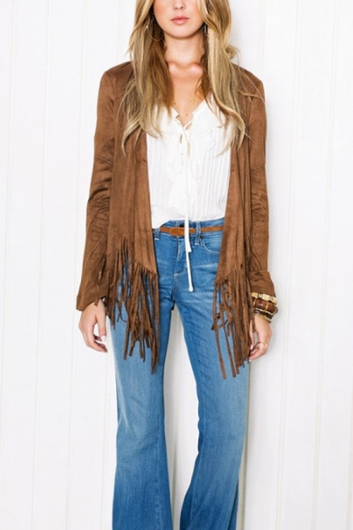 Fashionable Lady Long Sleeve Tassel-Trimmed Open Front Coffee Jacket Coat
