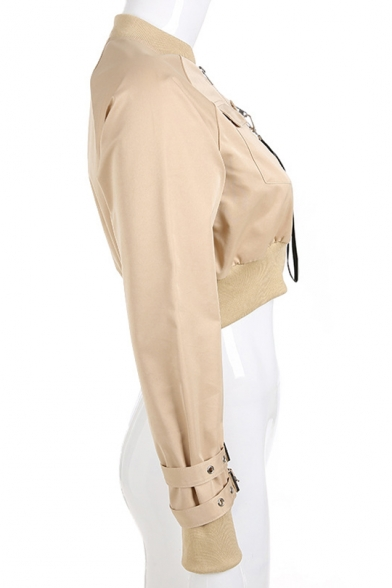 Girls Hot Stylish Cool Simple Plain Buckled Cuff Long Sleeve Strap Embellished Zip Up Cropped Jacket