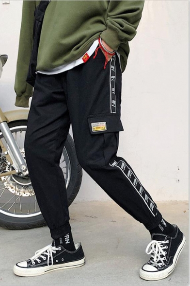 Guys New Fashion Letter Printed Contrast Tape Side Flap Pocket Casual Cotton Cargo Pants
