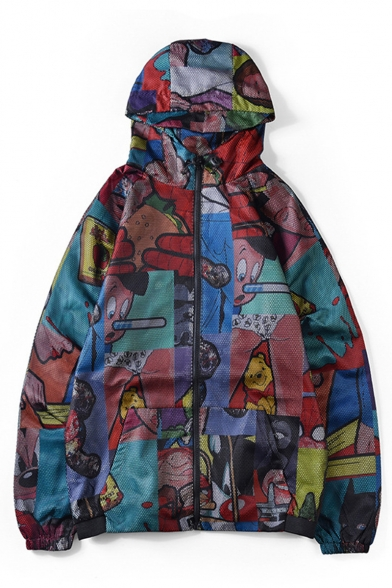 Guys New Stylish Cool Street Comic Printed Long Sleeve Zip Placket Hooded Jacket