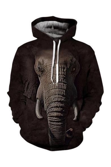 Hot Fashion Elephant 3D Printed Long Sleeve Loose Fit Dark Brown Pullover Drawstring Hoodie