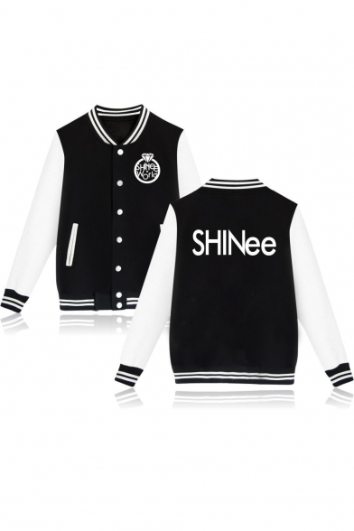 Hot Fashion Unique Letter SHINEE Print Stand Collar Single Breasted Baseball Jacket
