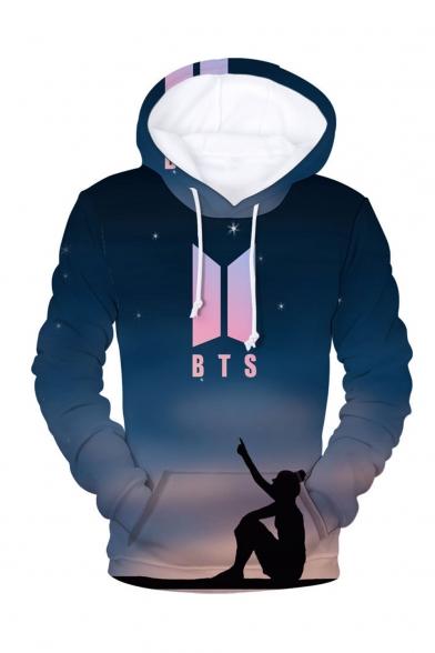 Hot Popular Kpop Boy Group BTS Logo Fire 3D Printed Long Sleeve Unisex Drawstring Hoodie