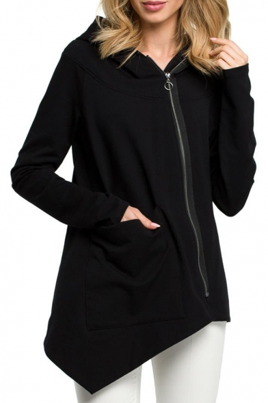 Hot Popular Plain Long Sleeve Zip Front Asymmetric Hem Hoodie with Pocket