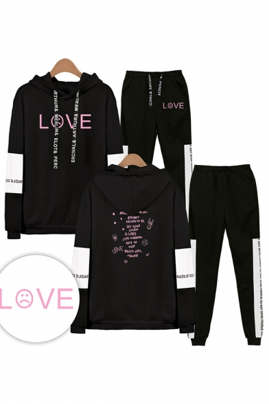Lovely Letters LOVE Print Patterns Long Sleeve Hoodie with Drawstring Sweatpants Two Piece Set