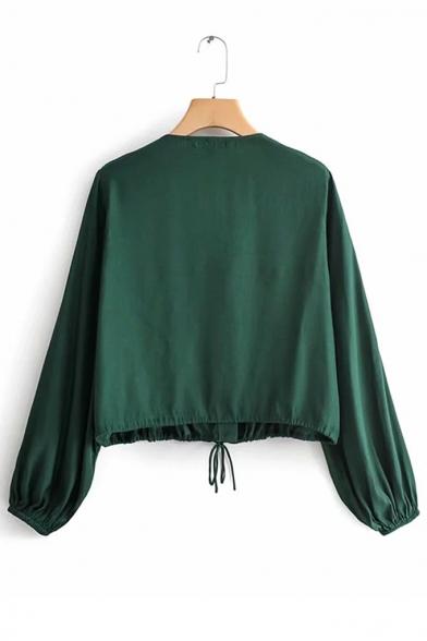 Solid Color V Neck Drawstring Waist Dark Green Cropped Coat