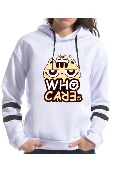 Hot Sale Unique White Striped Long Sleeve Cartoon Cat Letter Who Care Printed Pullover Hoodie