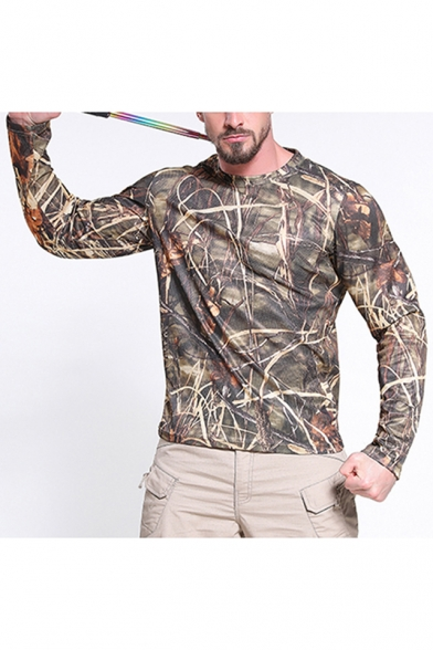 Hot Trendy Long Sleeve Round Neck Quick Dry Breathable Pullover Camo T-Shirt