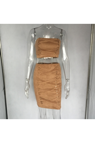 Ladies New Khaki Plain Bandage Sleeveless Strapless Bandeau Top with Mini Skirt Co-ords