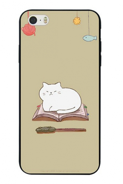 Lovely Cartoon Book Cat Printed Polish Soft iPhone Case