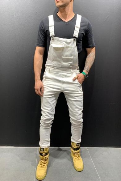 Men's Popular Fashion Simple Plain Slim Fit Bib Overalls