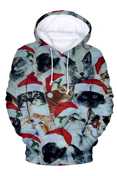 New Fashion Christmas Santa Claus 3D Printed Long Sleeve Loose Fit Unisex Drawstring Pullover Hoodie
