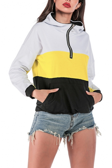 New Fashion Color Block Half-Zip Long Sleeve Pocket Front Casual Hoodie