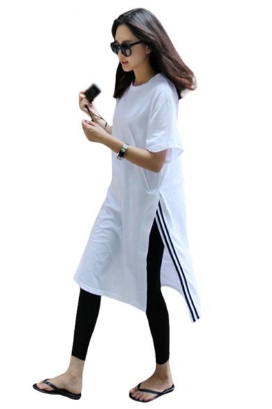New Fashion Round Neck Short Sleeve Striped Slit White Loose Shift T-Shirt Midi Dress