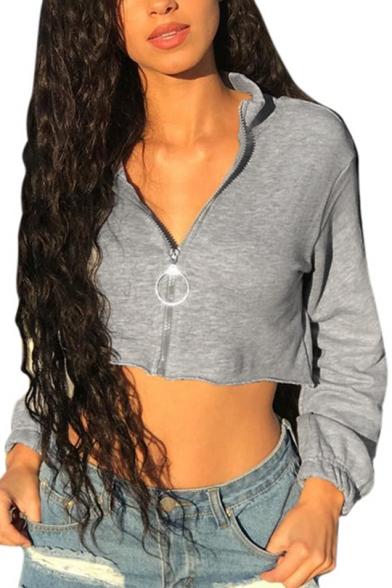 New Fashion Simple Basic Gray Plain Long Sleeve Zip Up Cropped Sweatshirt