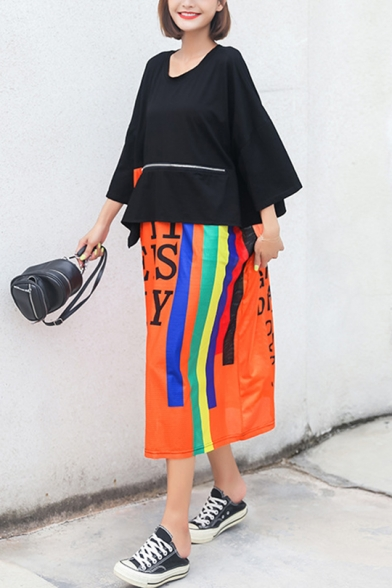 New Trend 3/4 Length Sleeve Round Neck Letter Multi Striped Panelled Zip Loose Casual Shift Maxi Dress