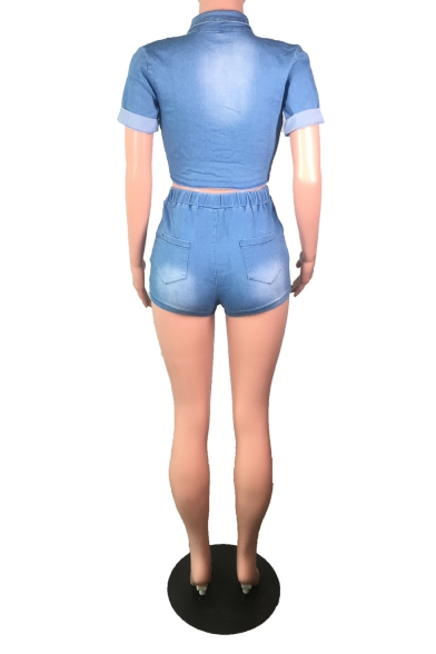 Personalized Rolled Sleeve Knotted Front with High Wait Shorts Blue Denim Co-ords