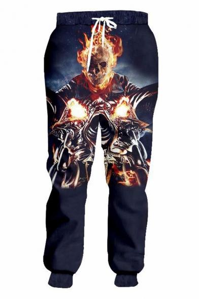Popular Fashion Cool Fire Skull 3D Printed Drawstring Waist Loose Fit Black Joggers Sweatpants