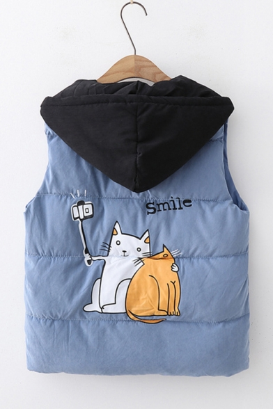 Preppy Cute Cats Printed Colorblocked Hooded Zipper Padded Vest