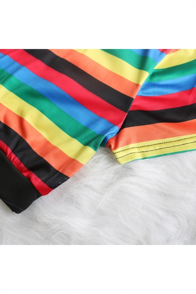 Stylish Rainbow Stripe Printed Short Sleeve Crop Tee with Skinny Shorts Two-Piece Set