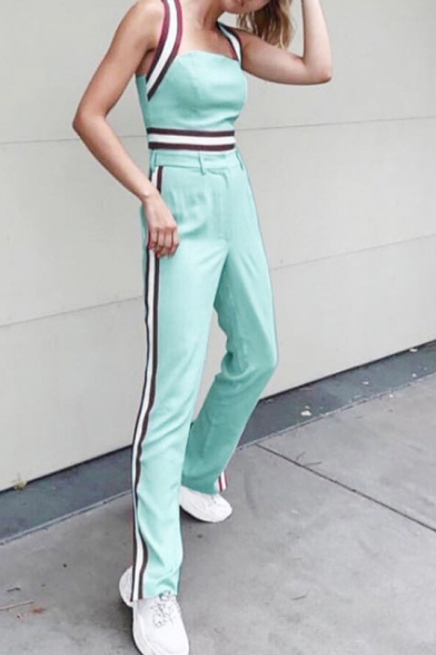 Stylish Straps Sleeveless T Shirt with Straight Pants Green Contrast Trim Holiday Two Piece Set, LM552072