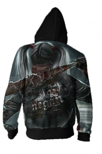 Character 3D Printed Long Sleeve Drawstring Zip Up Hoodie