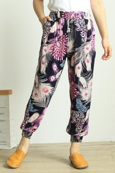 Moda De Verano Impreso Cintura Elástica De Algodón Loungewear Pantalones Bombachos
