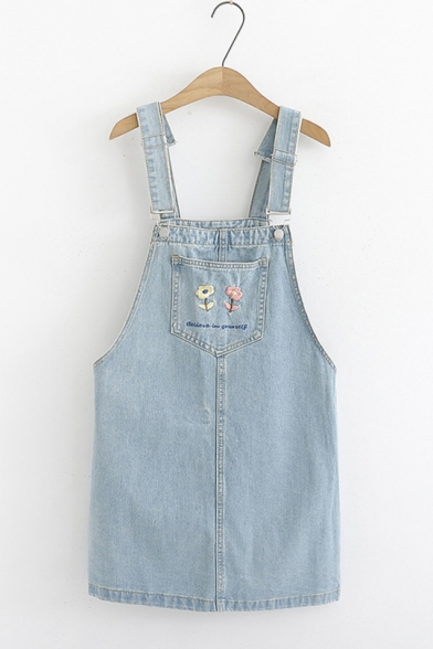 Summer Girls Simple Chic Floral Embroidery Mini Denim Overall Dress