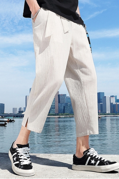 Summer New Fashion Simple Plain Letter Ribbon Embellished Cropped Linen Casual Pants
