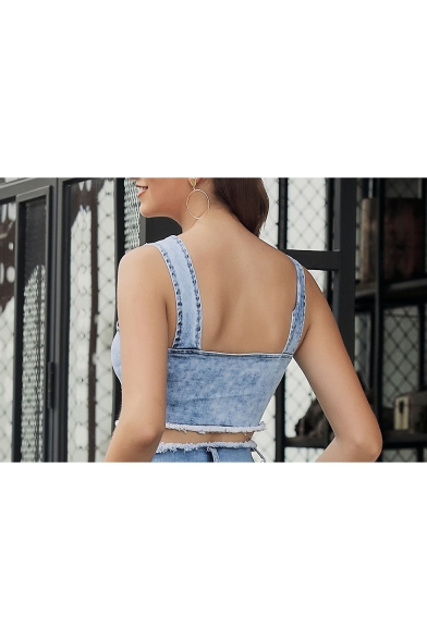 Summer New Stylish Classic Plain V-Neck Sleeveless Light Blue Denim Tank Tee