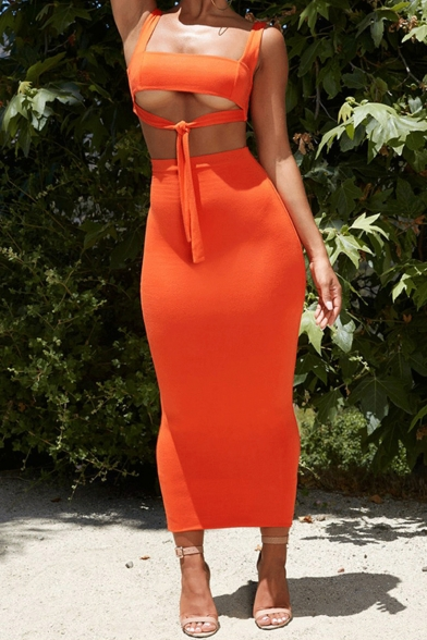 Summer Trendy Straps Cutout Sleeveless Knotted Front with High Waist Slim Fitted Midi Skirt Plain Co-ords, Orange;rose red;light blue;light purple;fluorescent green;fluorescent yellow, LM552088