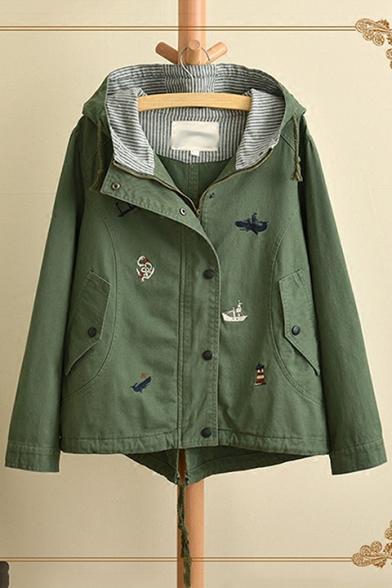 Sweet Girls Cartoon Embroidery Flap Pocket Front Drawstring Hooded Zip Up Coat Jacket