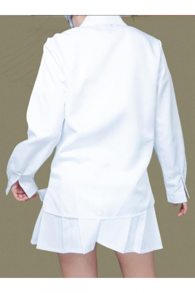 The Promised Neverland Emma Cosplay Costume White Button Shirt with Mini Pleated Skirt Two-Piece Set