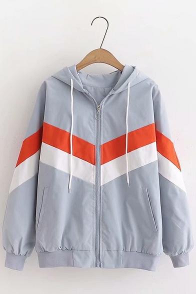 Trendy Chevron Stripe Color Block Long Sleeve Hooded Zip Up Casual Jacket Coat