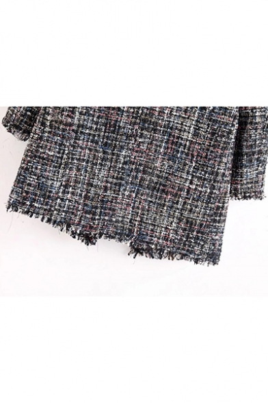 Tweed Double Breasted Notched Lapel Collar Fringed Embellished Long Coat