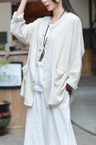 Vintage Linen Round Neck Single Breasted Pockets Sun Protection Short Coat