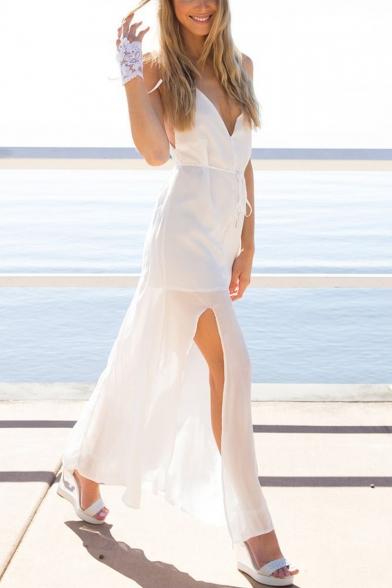 Women's Beach V-Neck Sleeveless Split Front Backless Front tie Asymmetrical Maxi Cami Dress