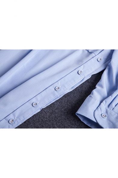 Women's Fashion lapel collar Long Sleeve Single Breasted Striped Open Back Slit Twist-waist Asymmetrical Maxi Shirt Dress
