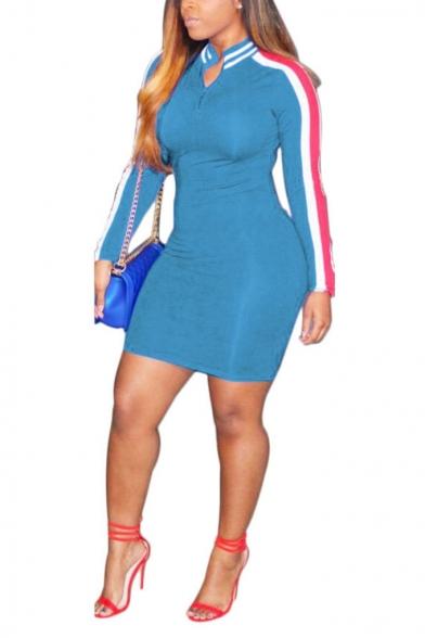 Women's Fashion Round Neck Long Sleeve Zip 3-stripe Mini Bodycon Dress