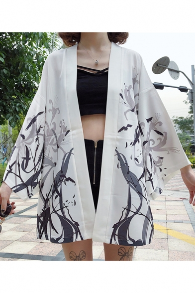 Women's Flying Crane Printed Half Sleeve Open Front Japanese Style Cardigan Kimono Haori Jacket Coat