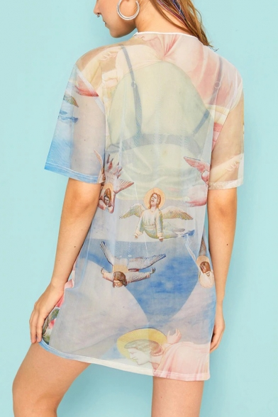 Women's Summer Round Neck Short Sleeve Angel Baby Pattern Sheath Mini Dress