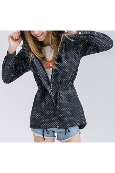 Women Trendy Drawstring Waist Polka Dot Hidden-Zip Placket Hooded Trench Coat