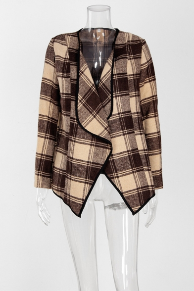 Womens Checked Pattern Waterfall Collar Open Front Long Sleeve Woolen Coat