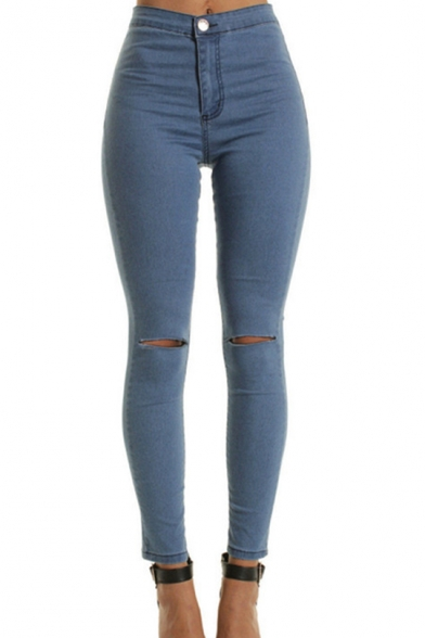 Womens Classic Plain Knee Cut Detail Skinny Fit Denim Jeans