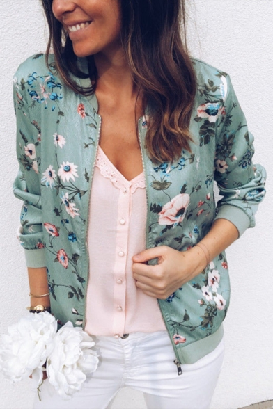 Womens Fancy Floral Printed Stand Collar Long Sleeve Zip Up Baseball Jacket