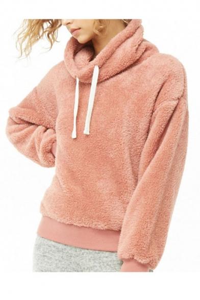 Womens Hot Fashion Pink Pile Heap Collar Long Sleeve Pullover Fluffy Fleece Sweatshirt