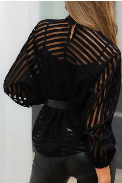 Womens Hot Trendy Sexy Striped Print Sheer Patched Cutout V-Neck Long Sleeve Black Blouse
