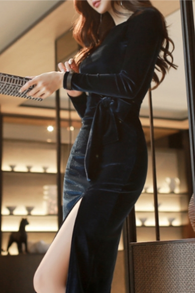 Womens New Fashion Round Neck Long Sleeve Tie Slit Pleuche Plain Enevning Midi Bodycon Dress